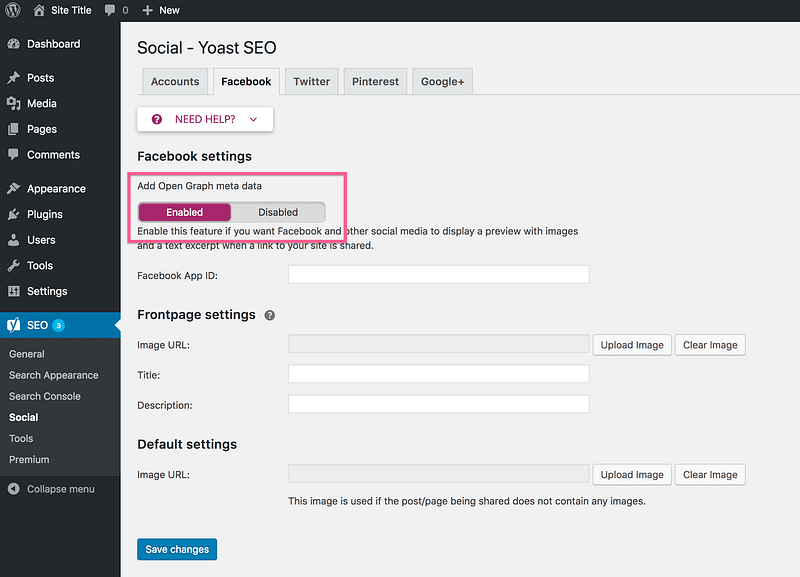 Yoast SEO Enable Open Graph