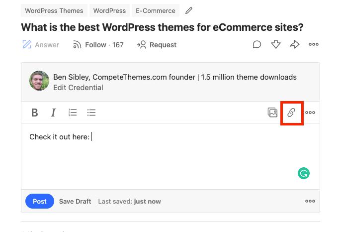 Quora editor link button