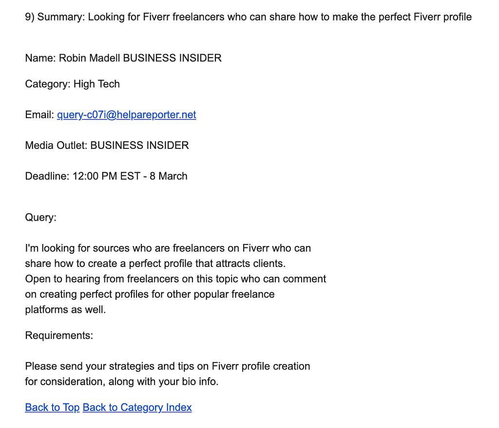 HARO request example