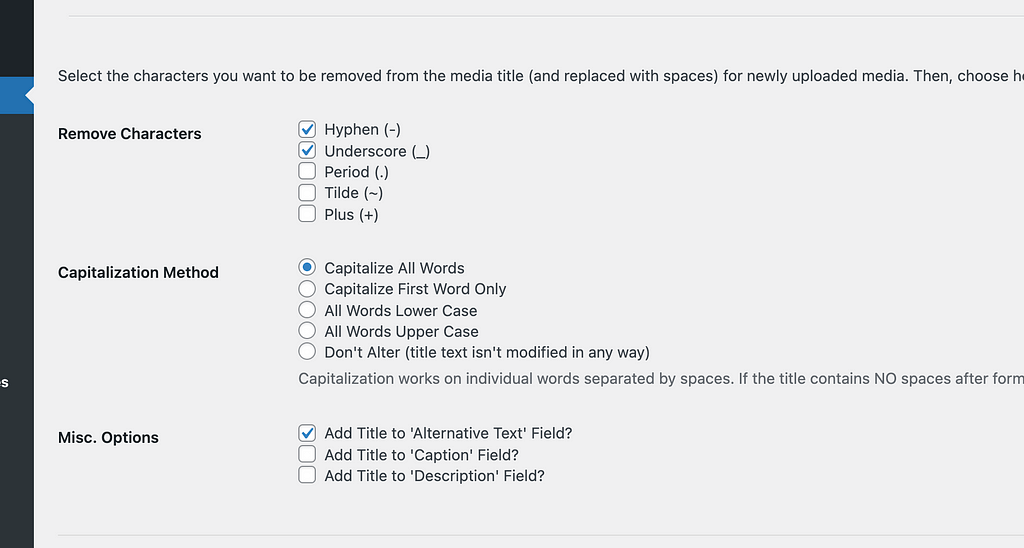 Screenshot of the Format Media Titles settings page