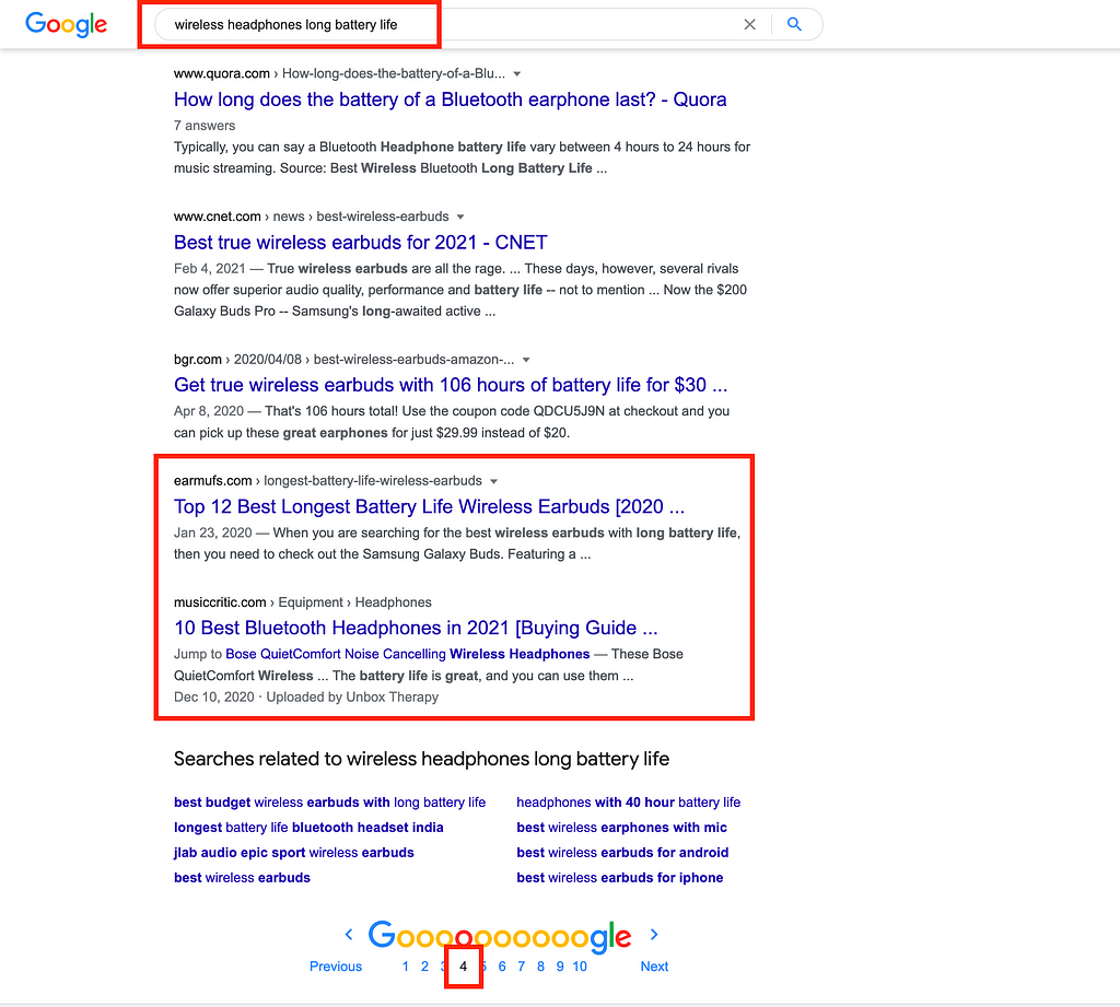 Google query results
