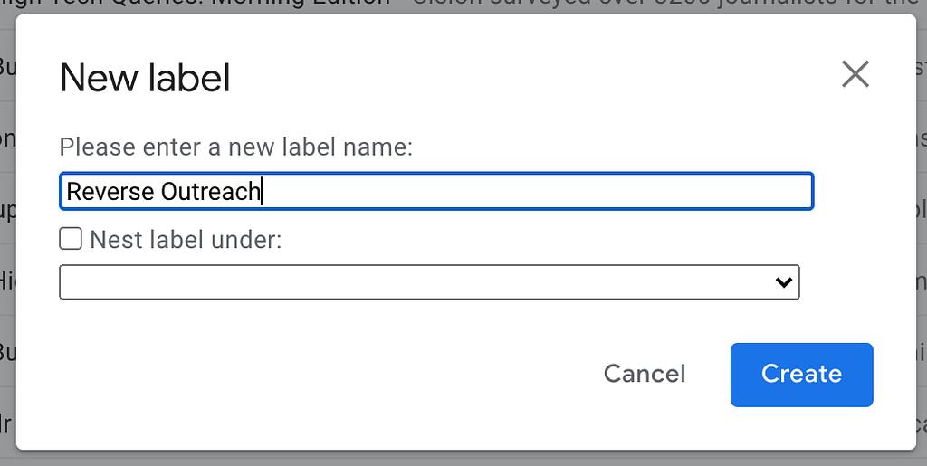 """Reverse Outreach"" label"