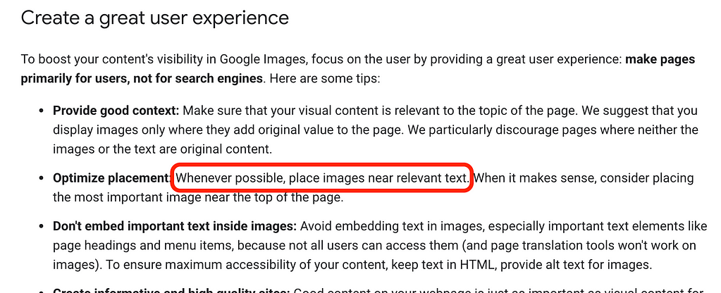 Screenshot of Google's image optimization guidelines