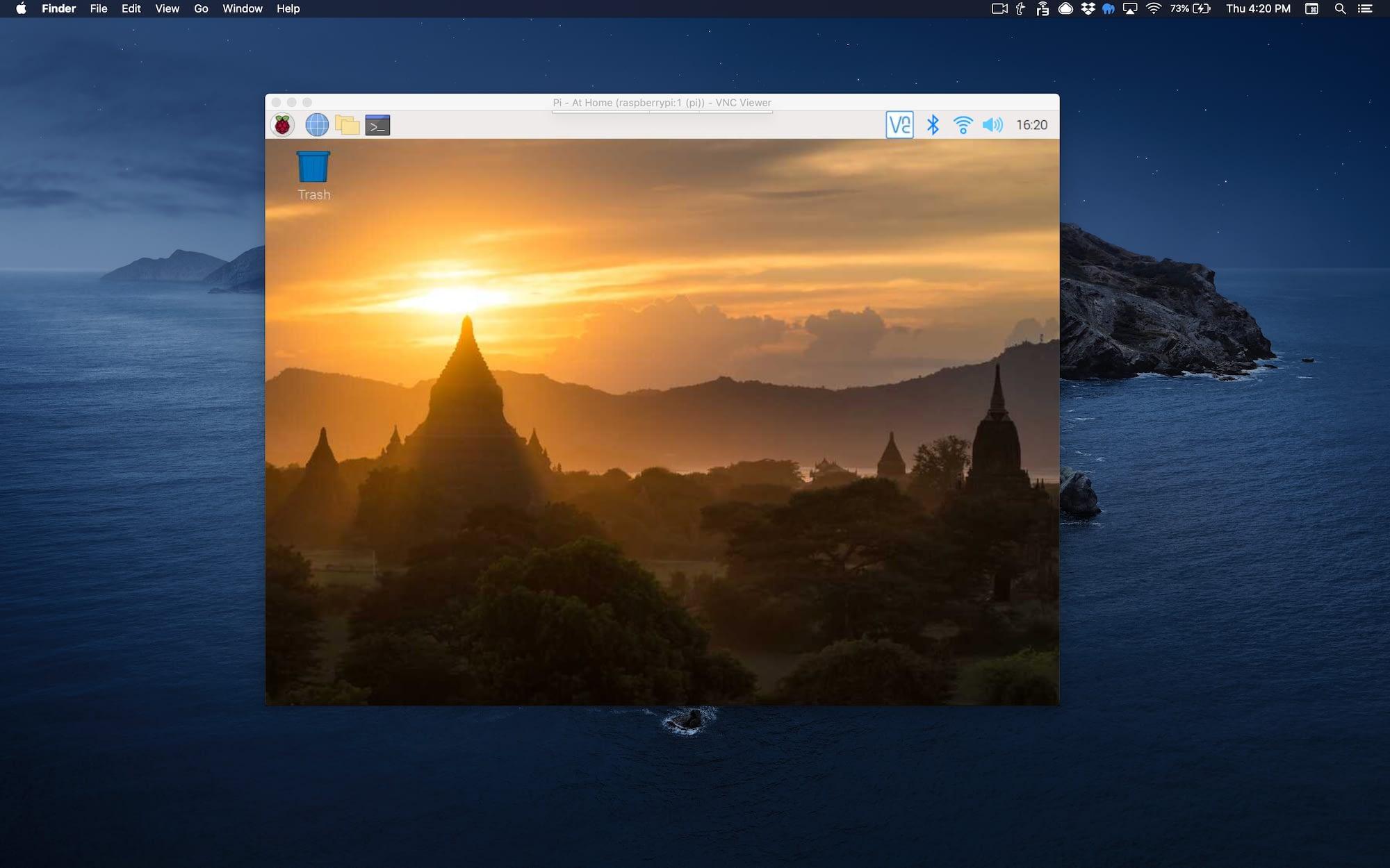 raspberry pi vnc window