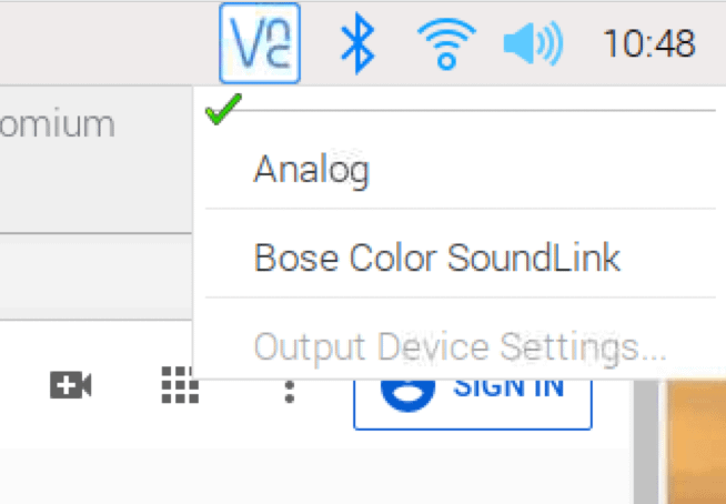 Audio menu