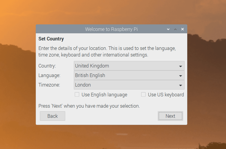 Country, language, and timezone options