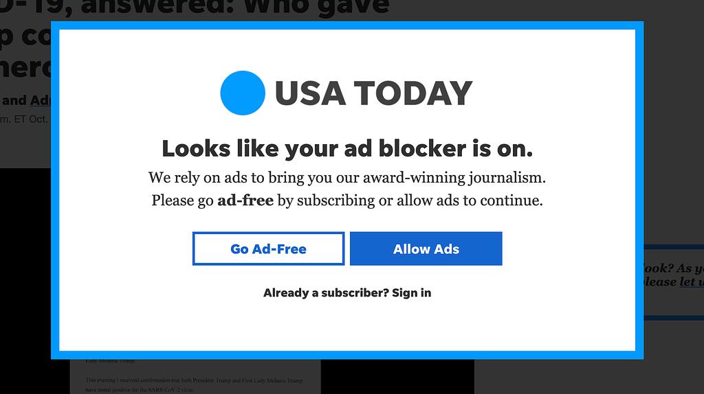 ad blocker popup