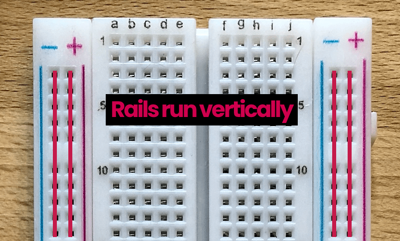 breadboard rails diagram