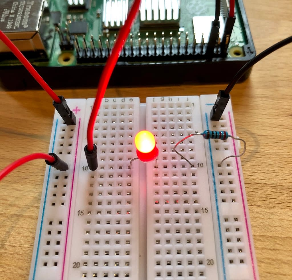 Completed circuit using the breadboard