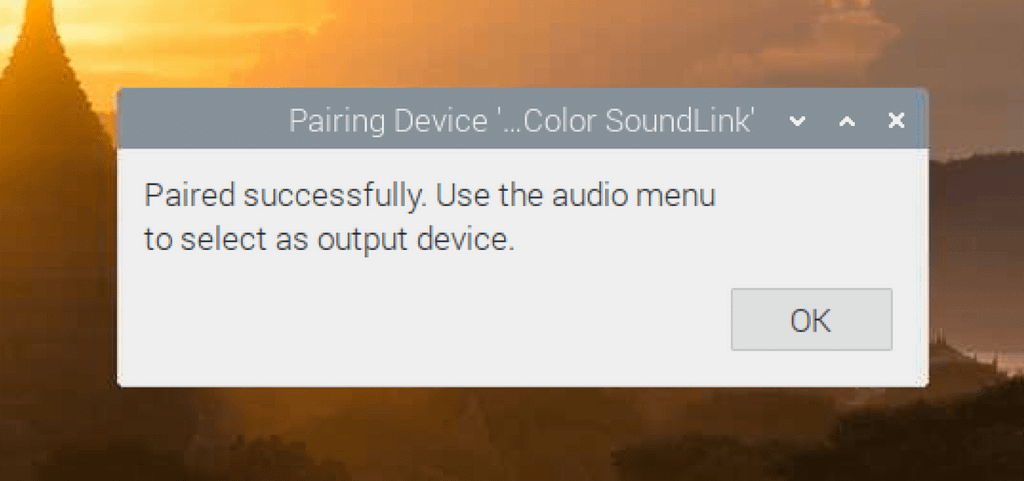 Device paired success message