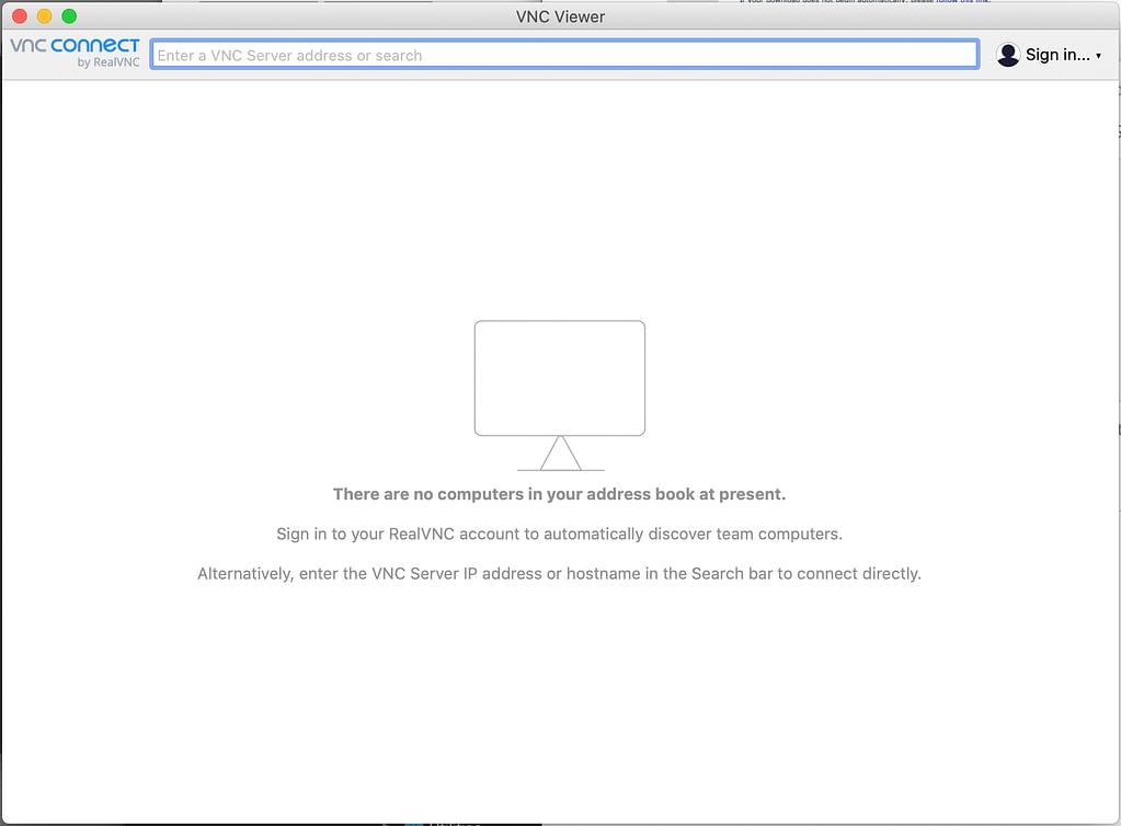 vnc viewer start screen