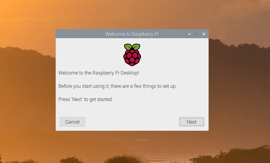 Raspberry Pi Desktop setup screen