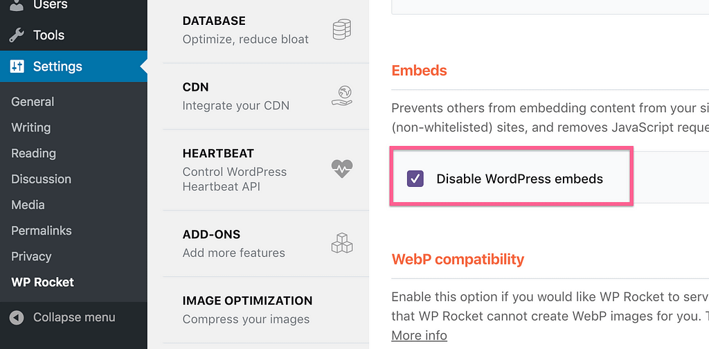 Wp Rocket Disable Embeds