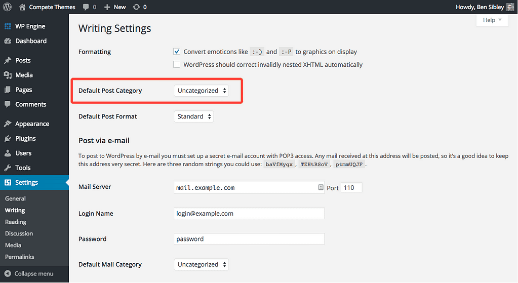 screenshot of the default post category setting
