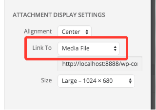screenshot of the Link To setting