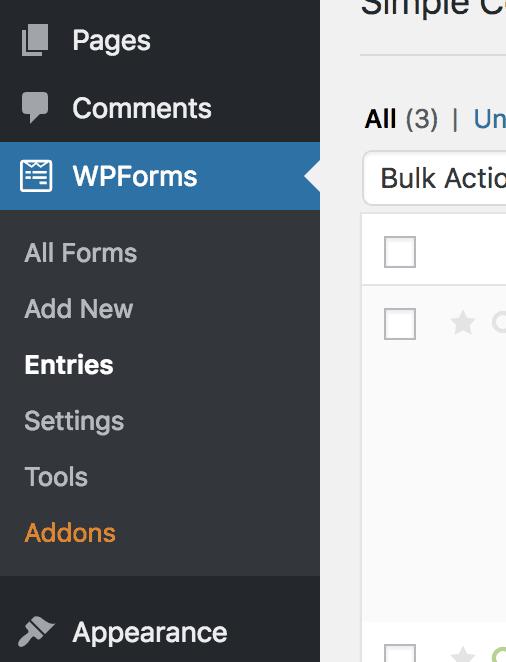 WPForms Entries