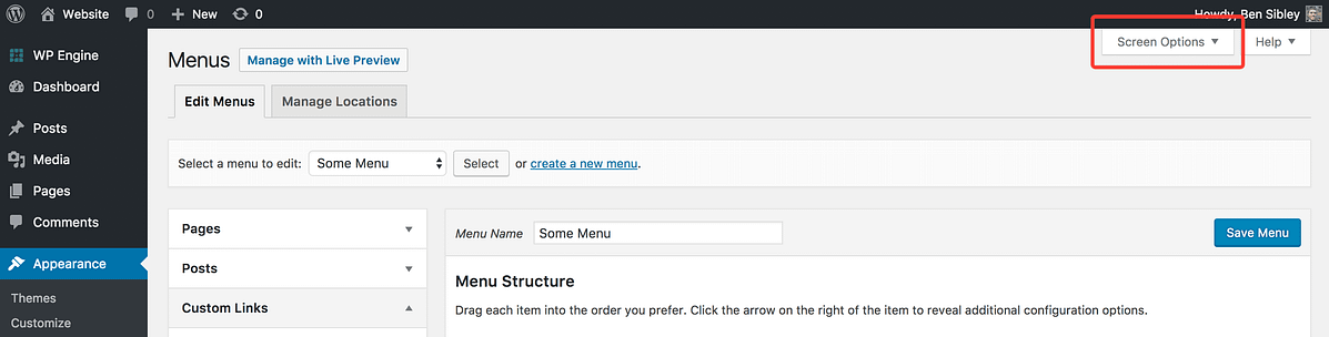 Screen Options button