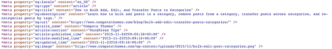 Facebook open graph tag meta elements