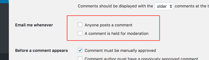 Two settings for receiving comment notifications