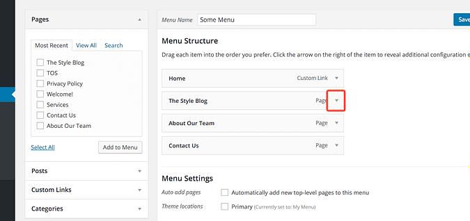the arrow for displaying menu item options