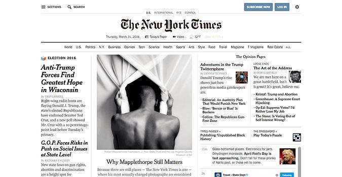 screenshot of nytimes.com