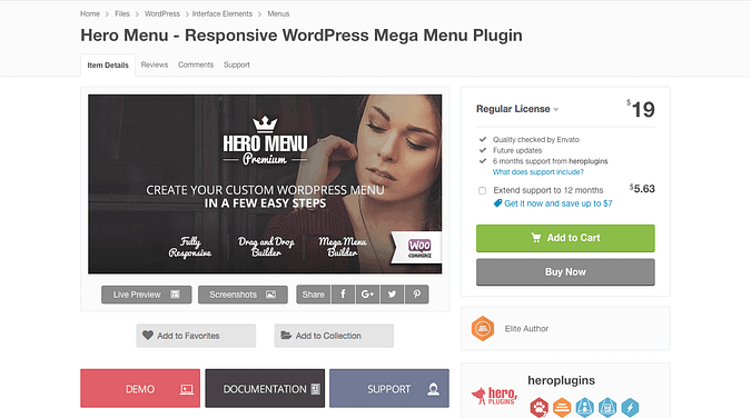 Hero Menu WordPress plugin