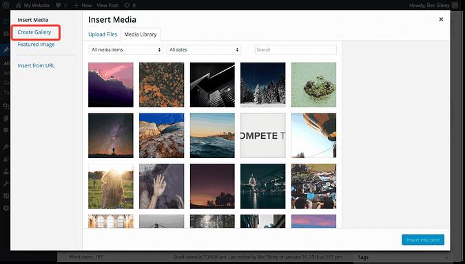 create gallery link