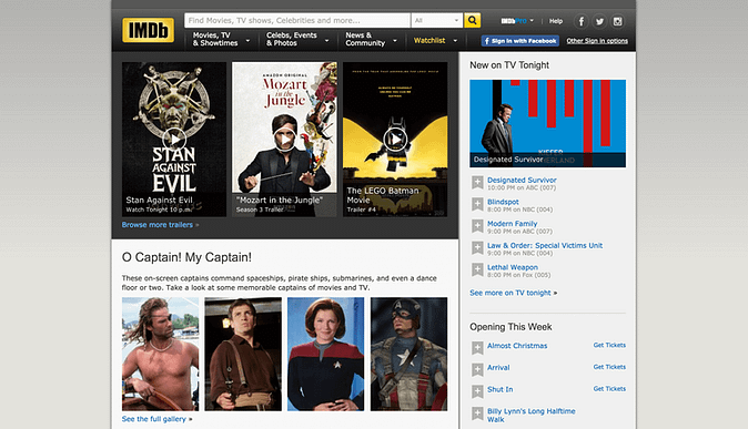 screenshot of IMDb