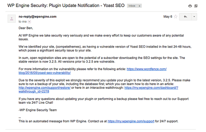 screenshot of email from WP Engine about a plugin vulnerability