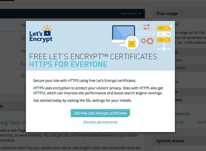 screenshot of Let's Encrypt offering