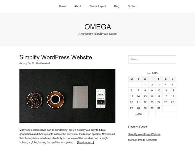screenshot of the Omega theme