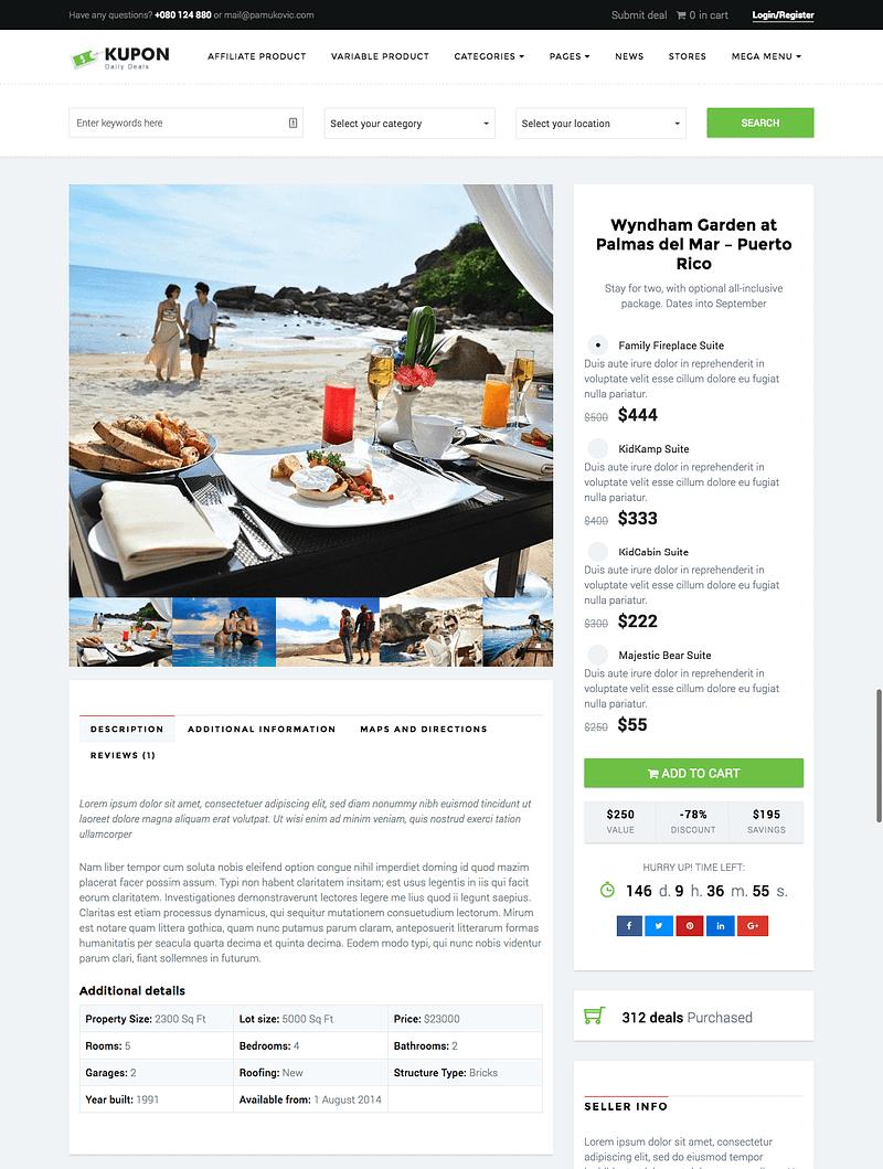 Kupon deal page