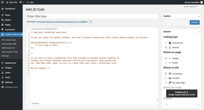 New JS code menu page