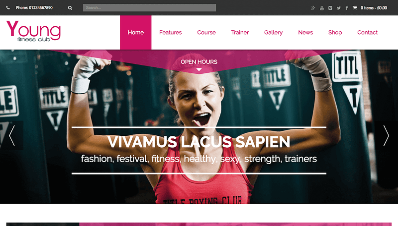 Young fitness center theme