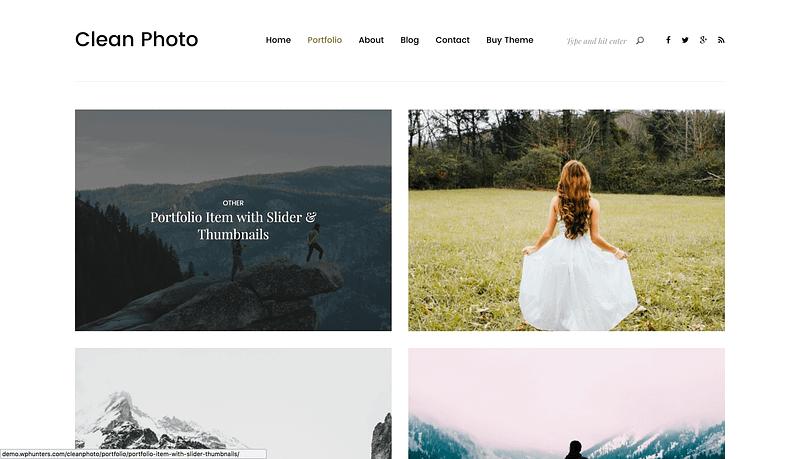 Clean Photo portfolio theme