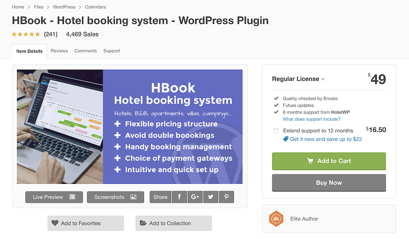 Hbook booking plugin