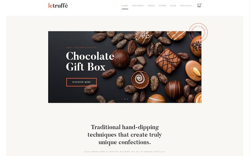 Le Truffe Chocolate Boutique Wordpress Theme