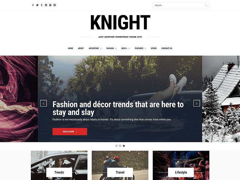 Knight slider magazine theme