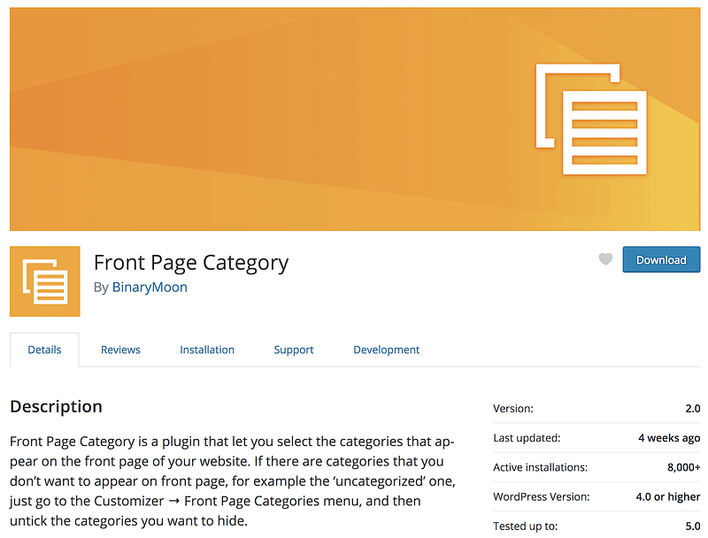 Front Page Category plugin