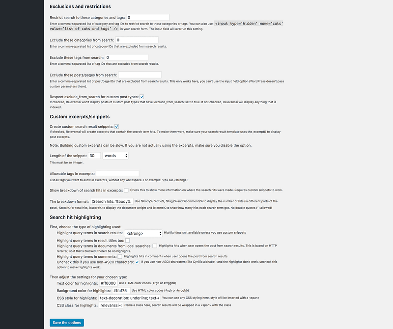 Relevanssi settings page