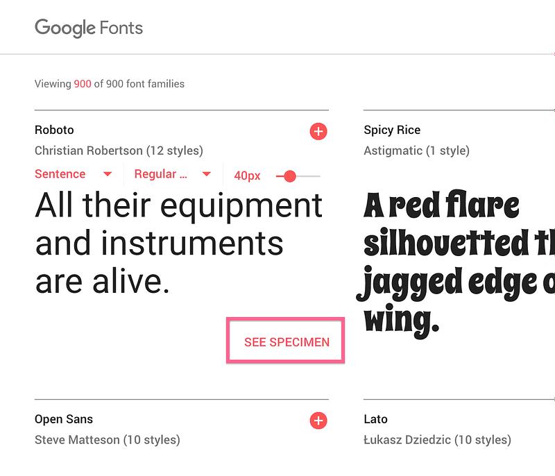 Google Fonts See Specimen