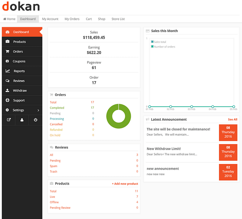Dokan Vendor Dashboard