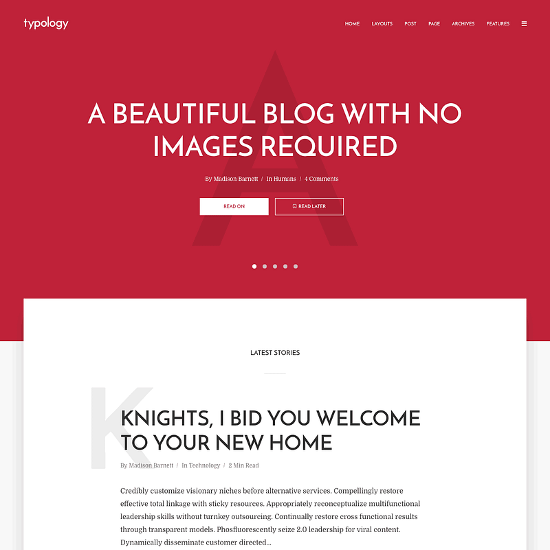 Typology minimalist WordPress theme