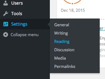 screenshot of the reading settings menu item